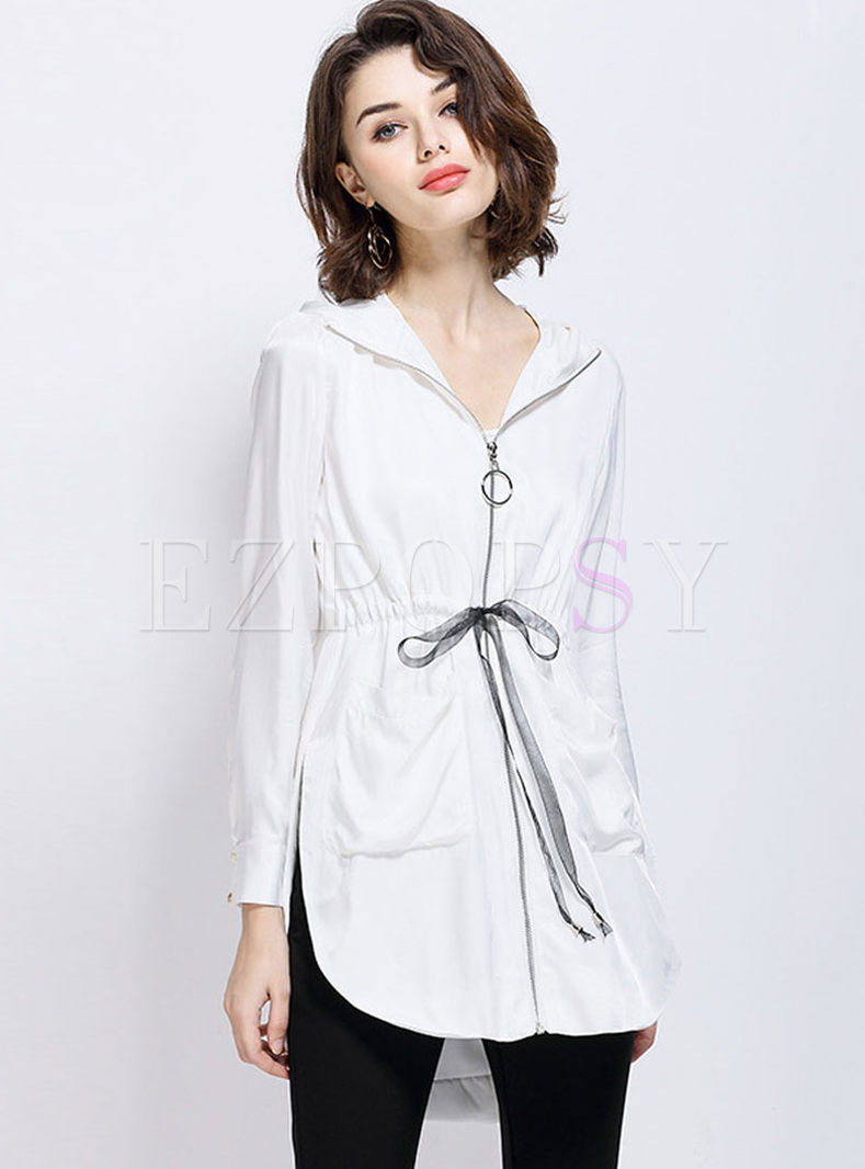Hooded Print Long Sleeve Irregular Coat