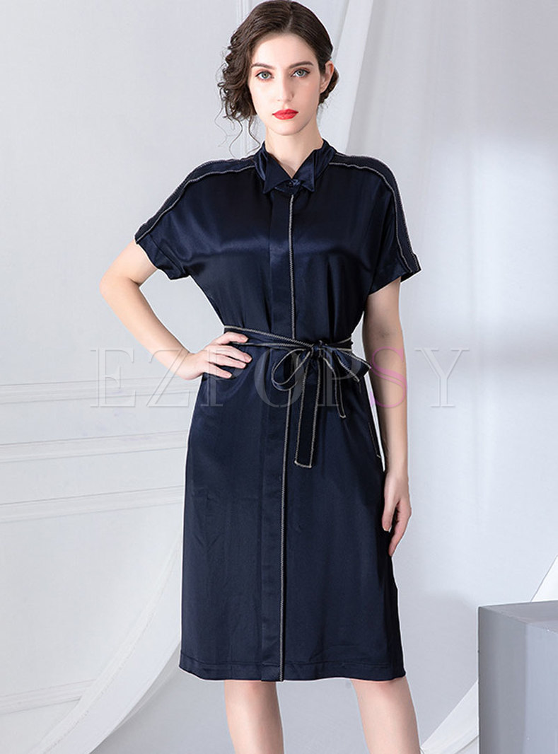 Solid Color Lapel Tied T-shirt Dress
