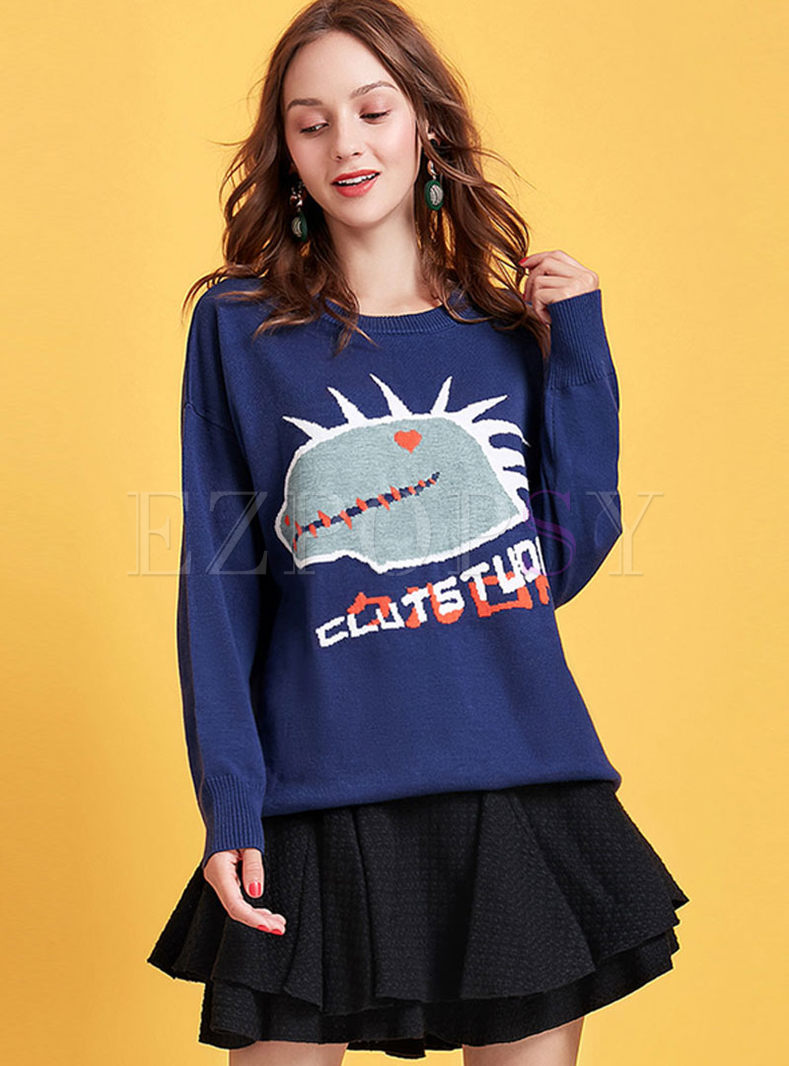 O-neck Cartoon Print Pullover Sweater
