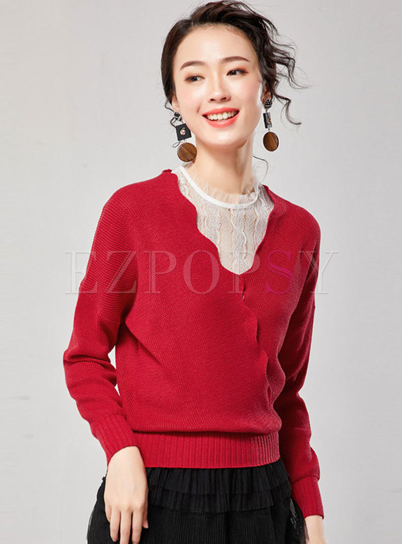 Red Long Sleeve Slim Short Sweater