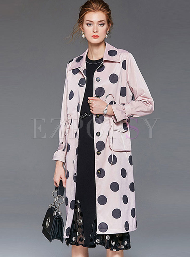Dot Long Trench Coat With Belt