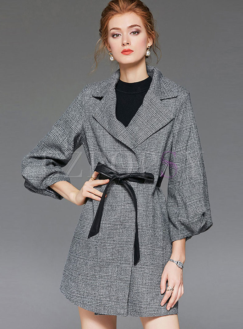 Houndstooth A Line Trench Coat