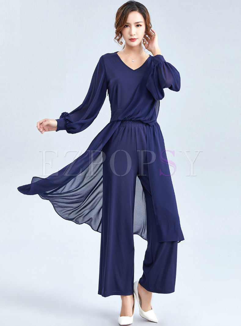 Brief V-neck Knitted Asymmetric Two Piece Outfits