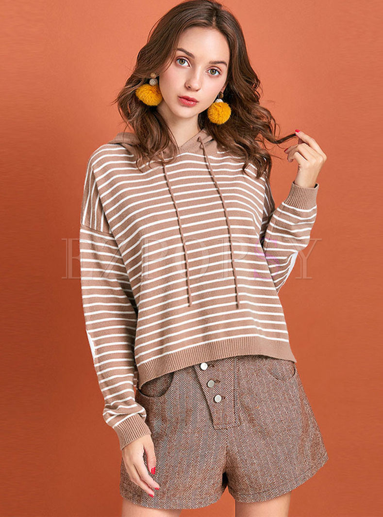 Casual Hooded Striped Slit Sweatshirt