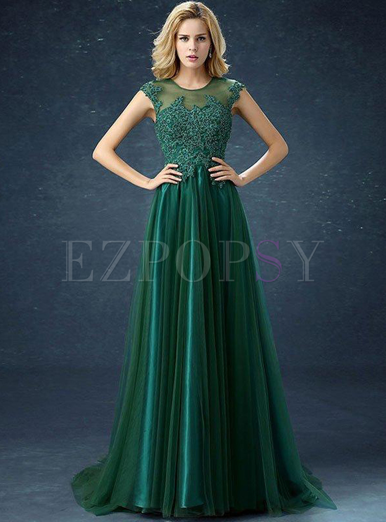 Bead Embroidery Solid Color Mesh O-Neck Sleeveless Evening Dresses