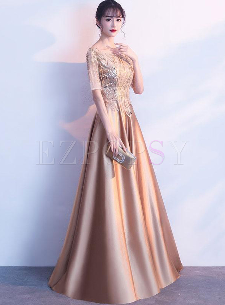 Sequin Solid Color O-Neck Half Sleeves Evening Dresses