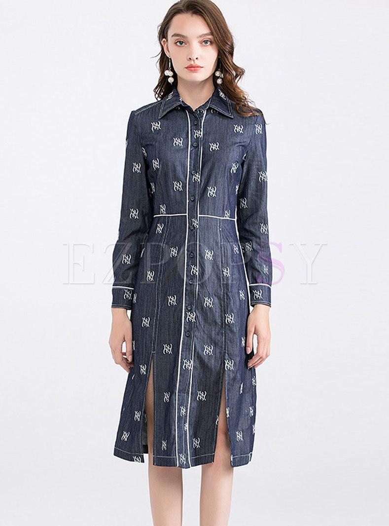 Totem Embroidery Hem Open Denim T-shirt Dress