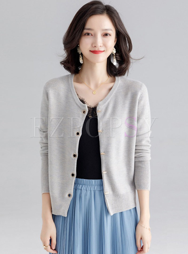 Casual Single-breasted Knitted Loose Cardigan