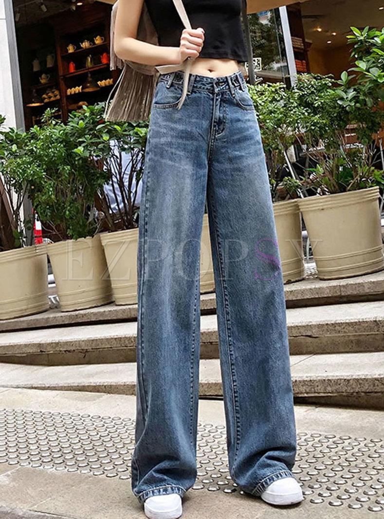 Retro High Waisted Denim Straight Pants