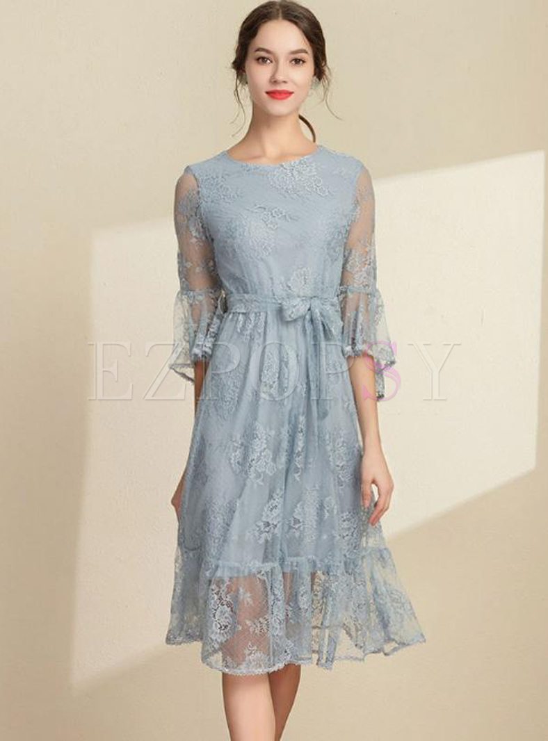 Lace Contrast Solid Color Zipper O-Neck Seven-Tenths Sleeves Flare Sleeves Midi Dresses
