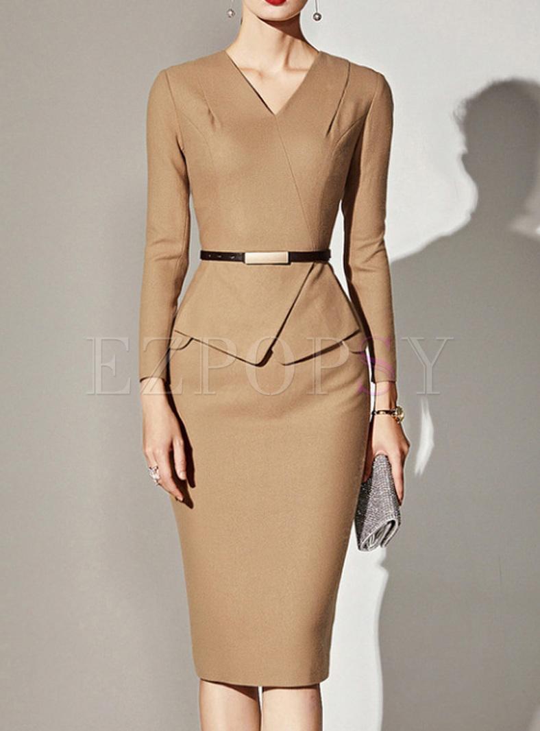 Work Solid Color V-Neck Long Sleeves Plus Size Dresses