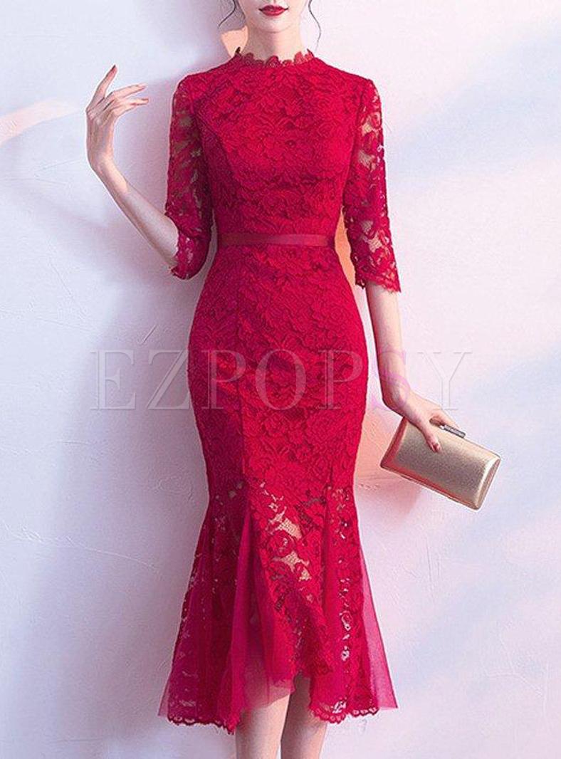 Lace Contrast Solid Color Mermaid Midi Dresses