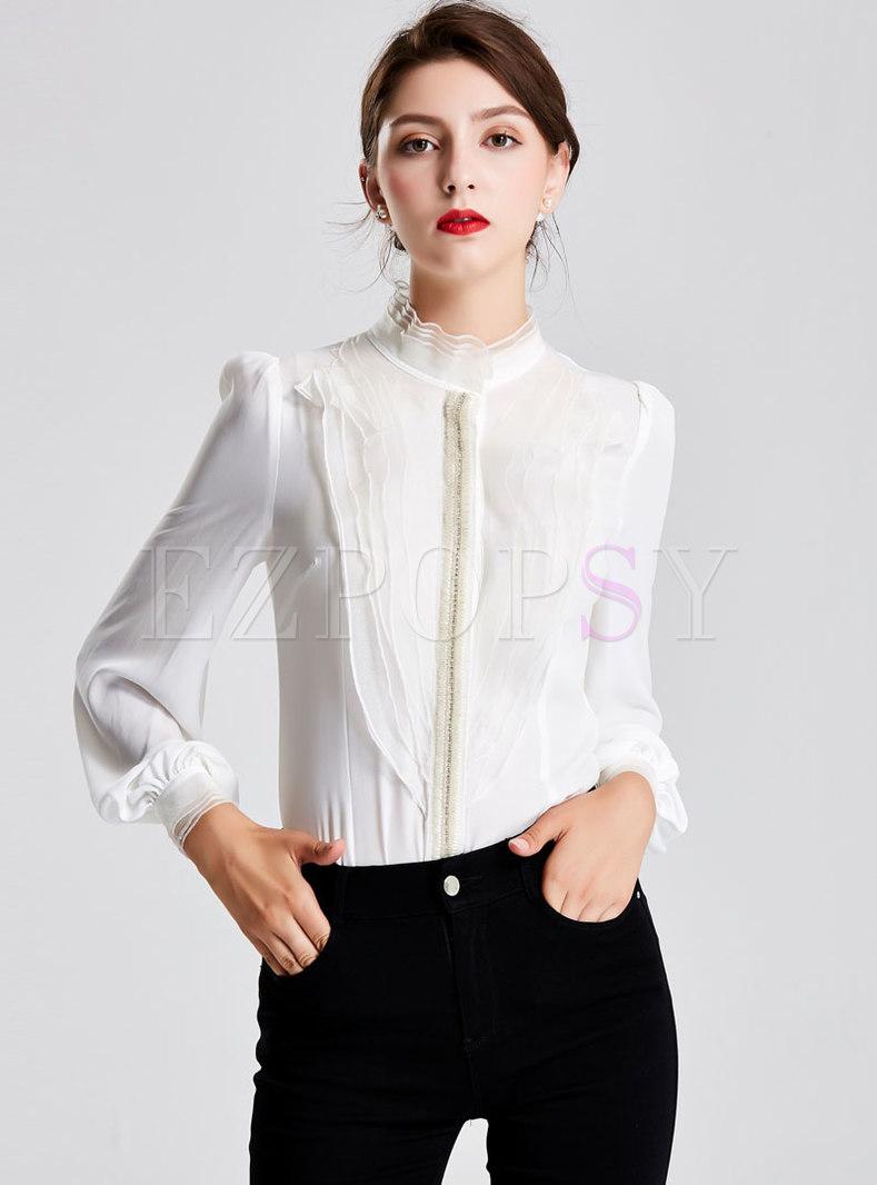 Standing Collar Falbala Puff Sleeve Blouse