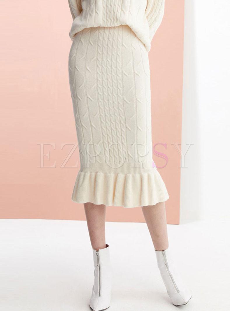 High Waisted Slim Mermaid Sweater Skirt
