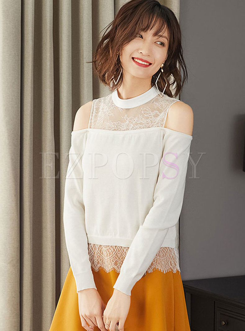 Lace Off The Shoulder Patchwork Sweater