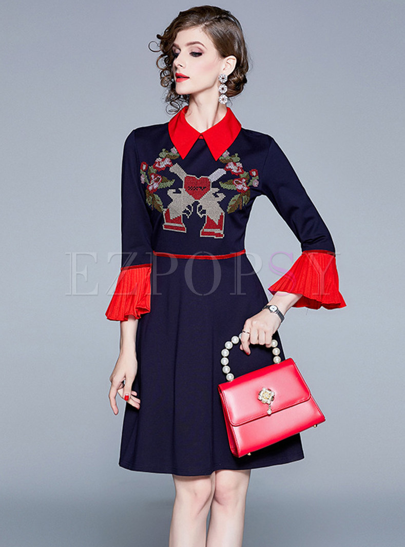 Lapel Three-quarter Sleeve Embroidered Dress