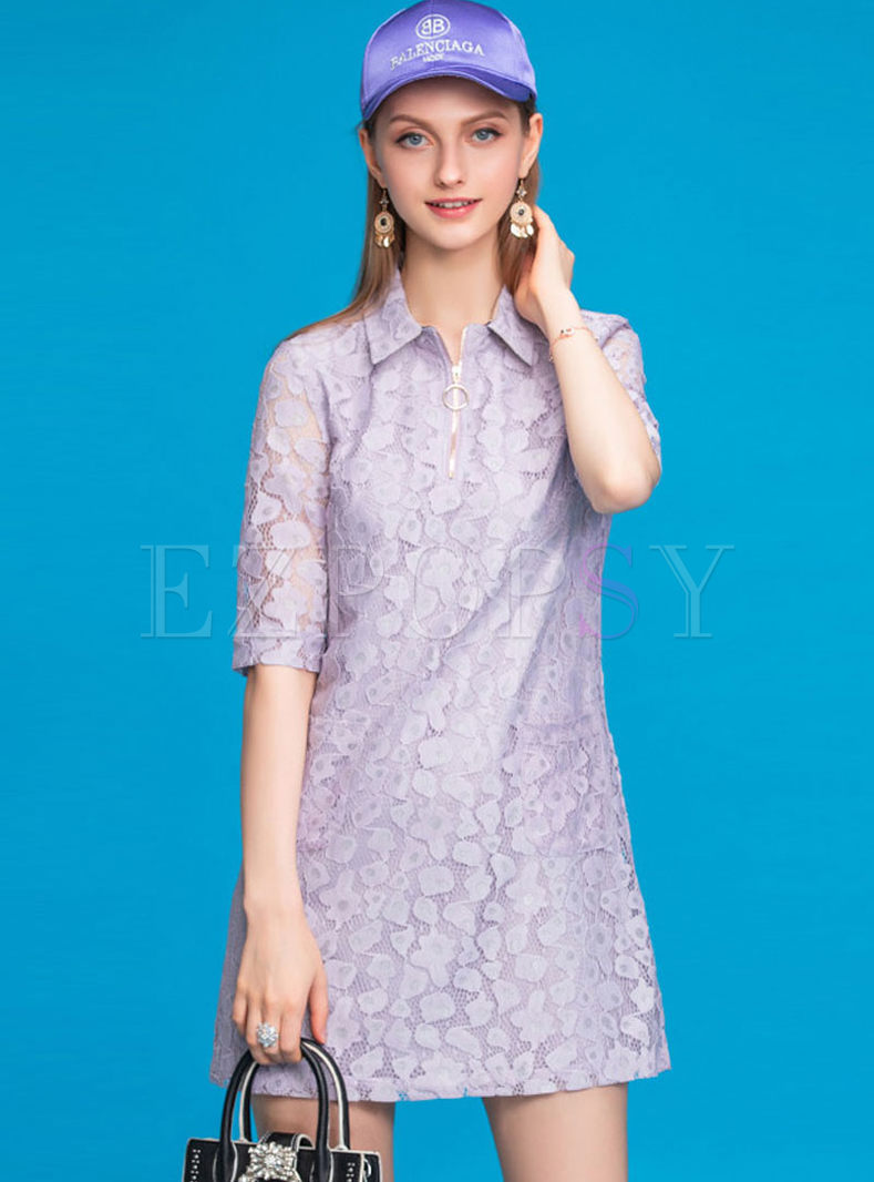 Sweet Lace Half Sleeve Slim Dress