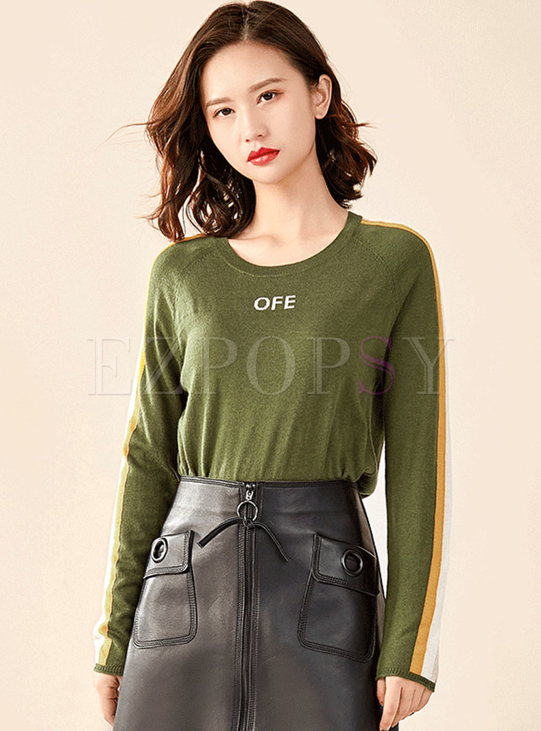 Brief O-neck Color-blocked All-matched Sweater