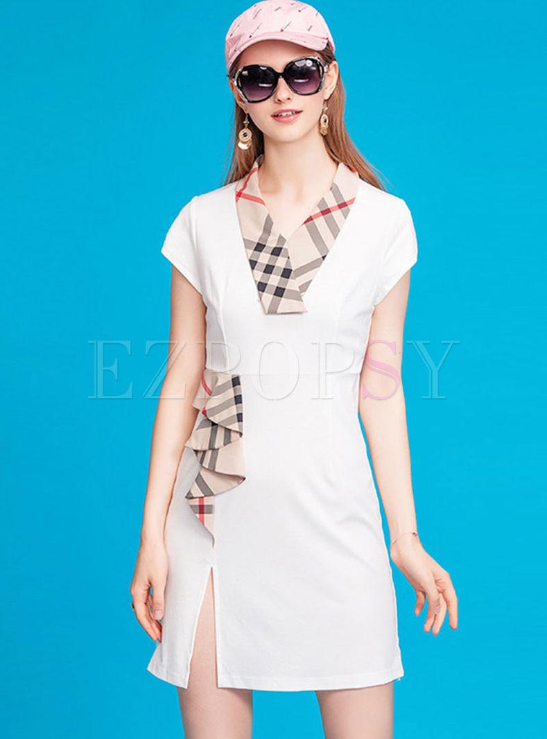 V-neck Falbala Patchwork Mini Dress