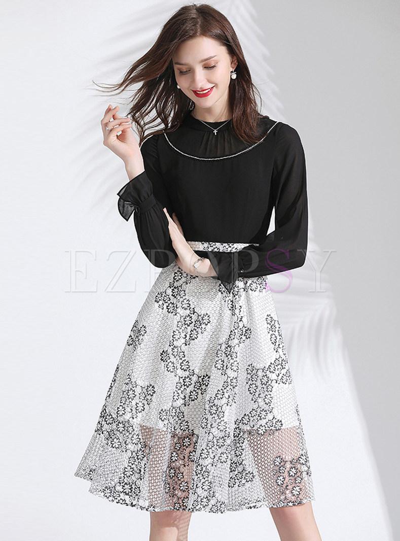 Brief Long Sleeve Lace Chiffon A Line Dress