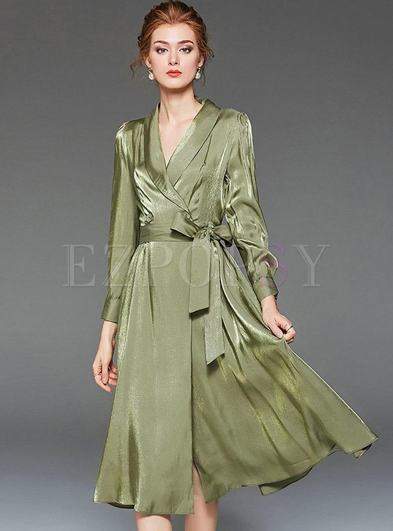 V-neck Long Sleeve A Line Wrap Dress