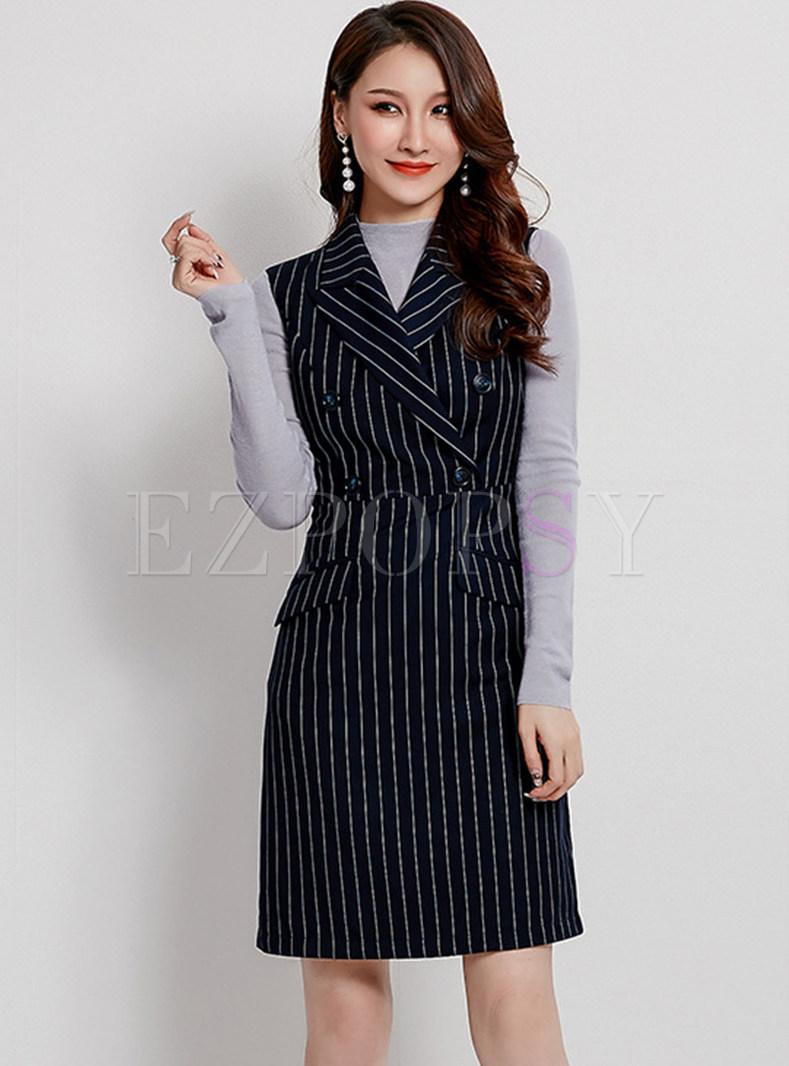 Work Notched Sleeveless Waist Striped Dress
