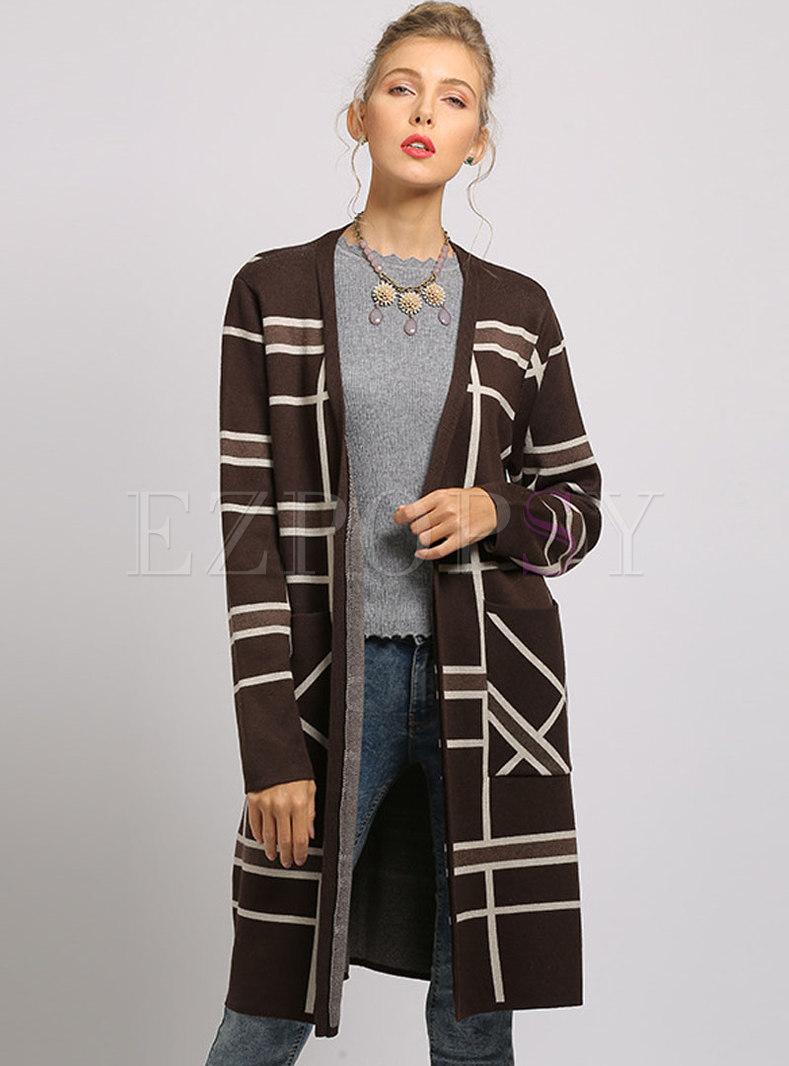 Brief Color-blocked Sweater Slim Coat
