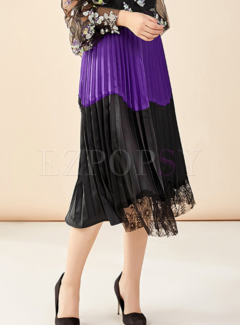 Casual Patchwork Lace Pleated Skirt