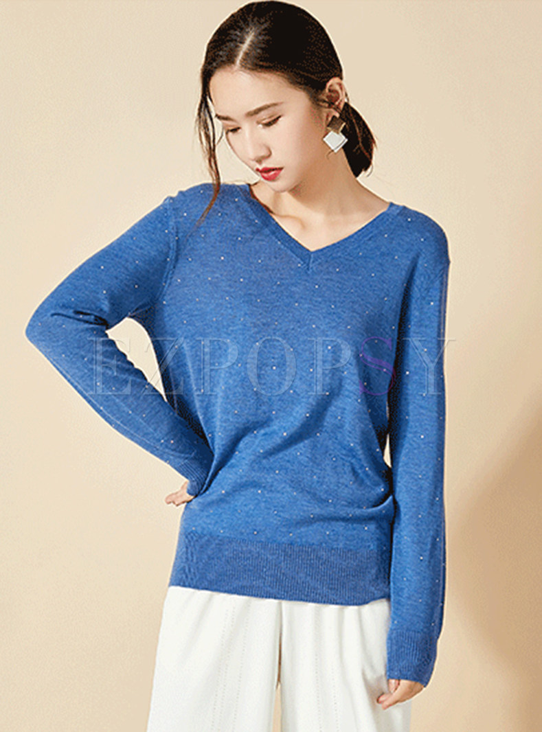 Casual V-neck Hot Drilling Knit Sweater