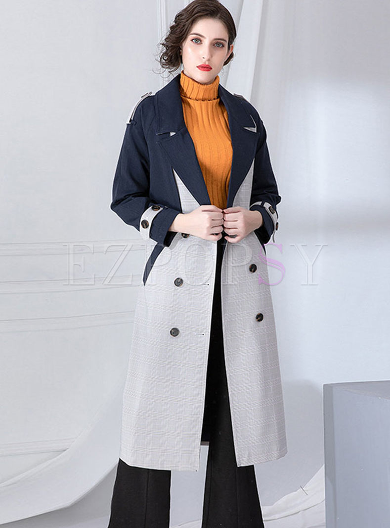 Color-blocked Lapel Long Sleeve Coat