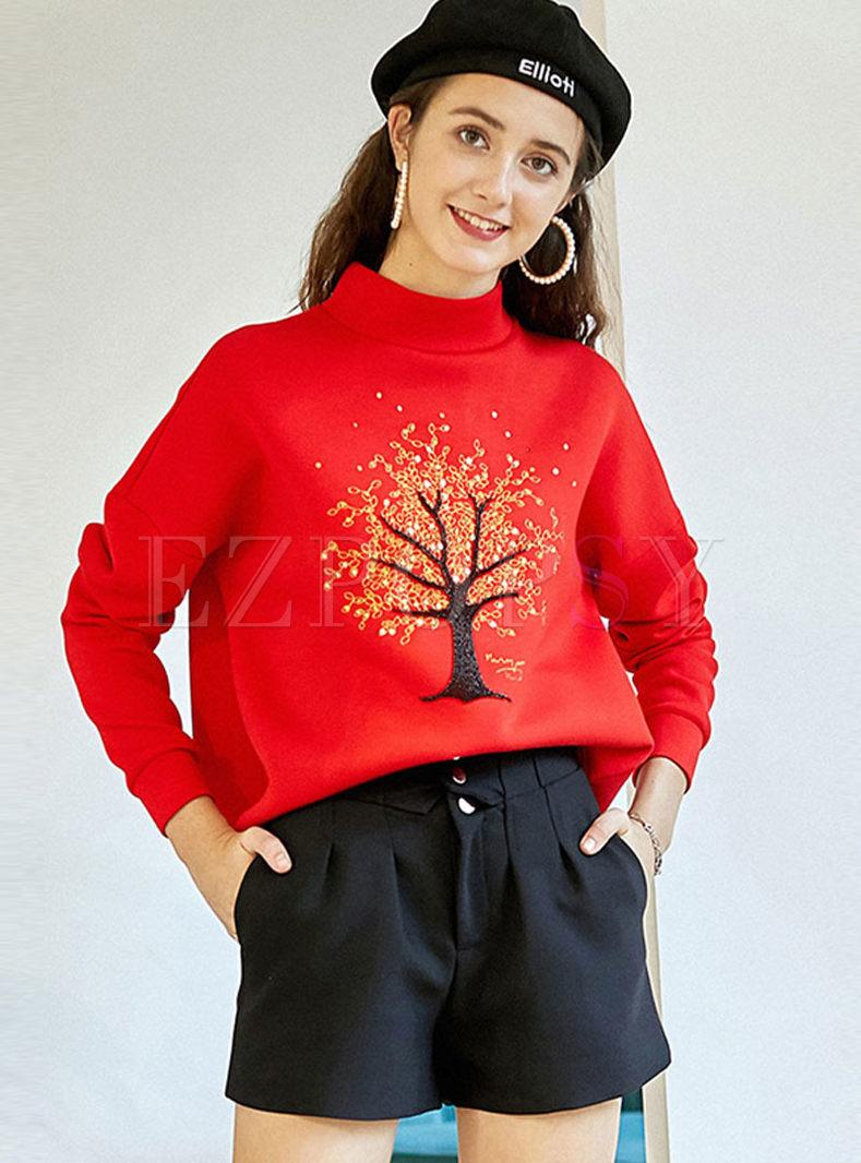 Turtleneck Loose Print Pullover Sweatshirt