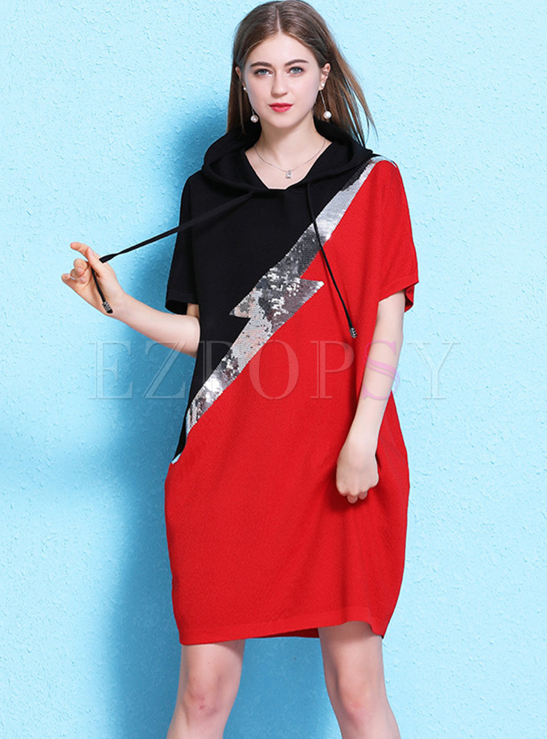 Hooded Color-blocked Loose Shift Dress