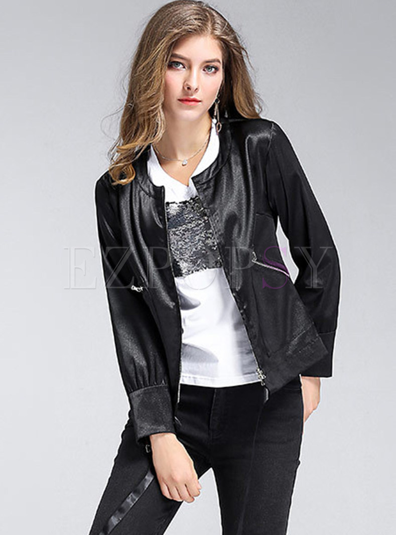 Solid Color O-neck Zipper Short Coat