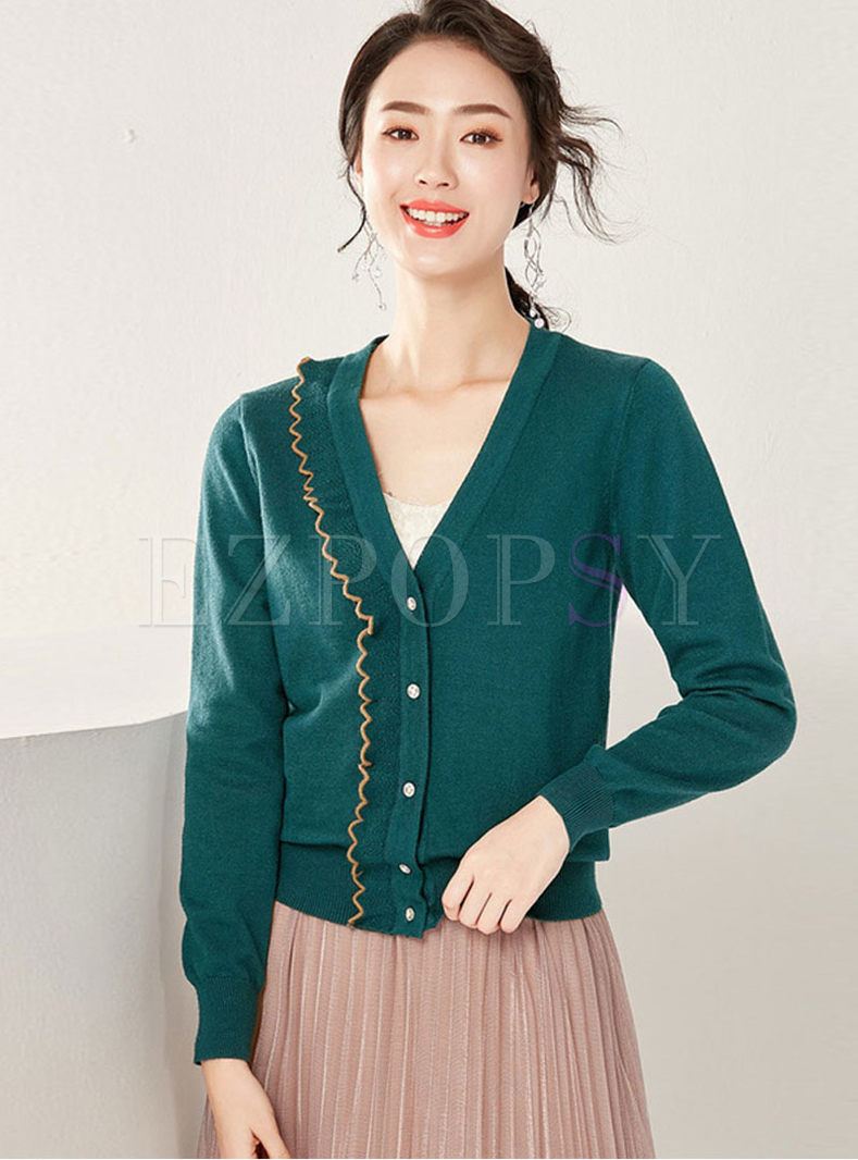 V-neck Long Sleeve Slim Cardigan