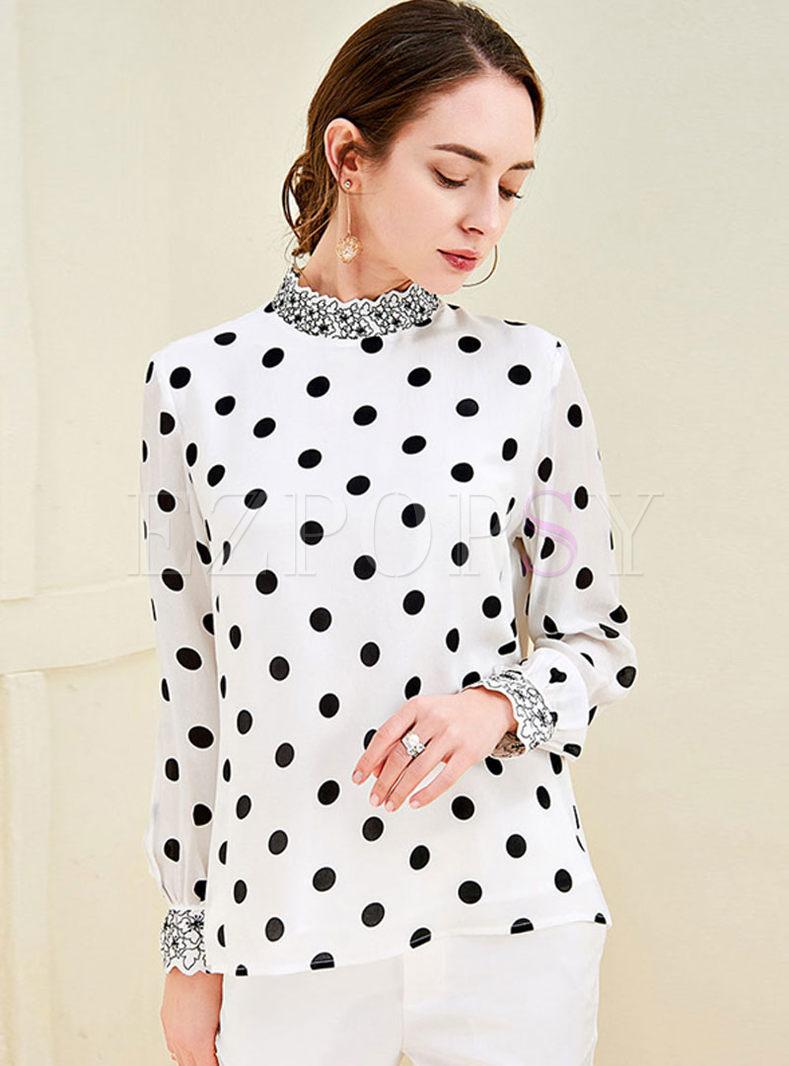 Standing Collar Dot Silk Blouse