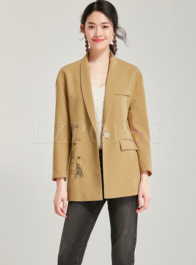 Work Lapel Long Sleeve Embroidered Blazer