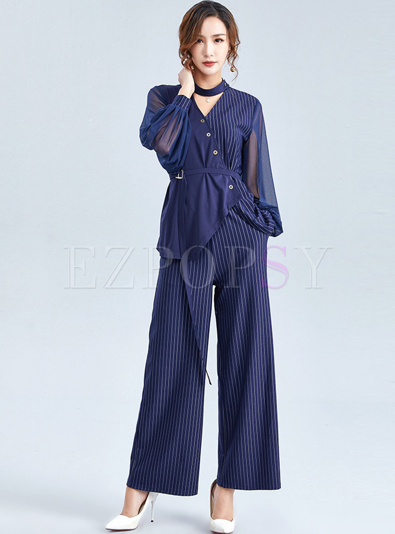 Work Irregular Top & Striped Wide Leg Pants
