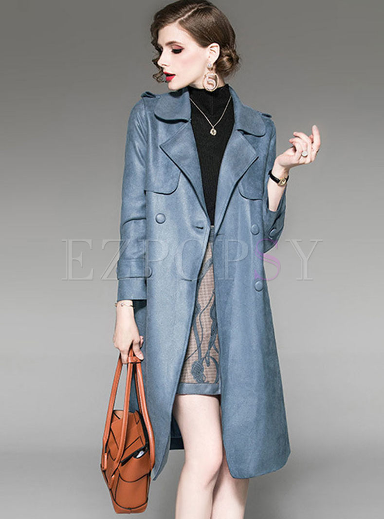 Fashion Notched Print Patchwork Trench Coat