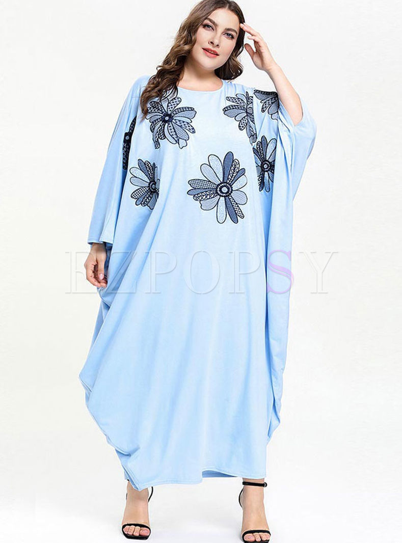 Bat Sleeve Embroidered Plus Size Dress