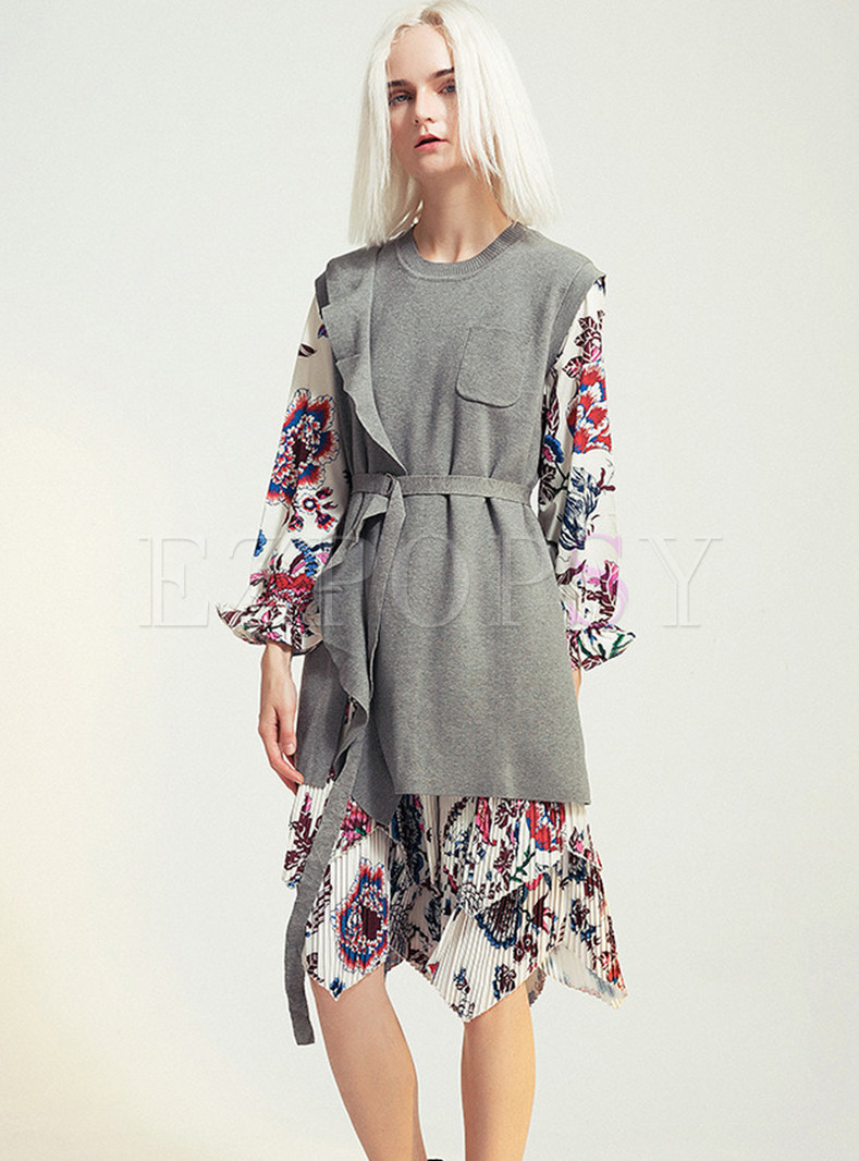 Long Sleeve Print Knit Two-piece Outfits With Belt