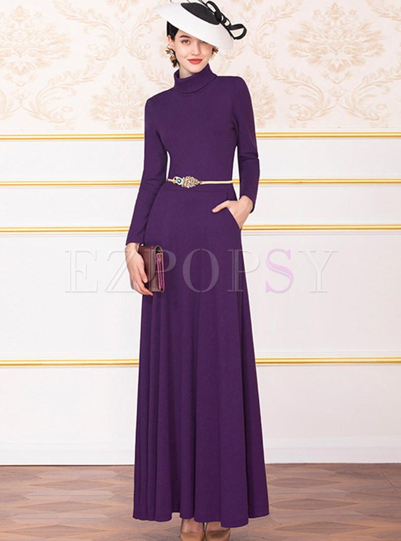 High Collar Waist Maxi Dress With Belt