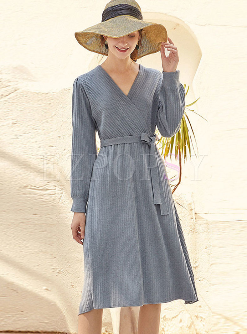 V-neck Long Sleeve Knitted A Line Dress