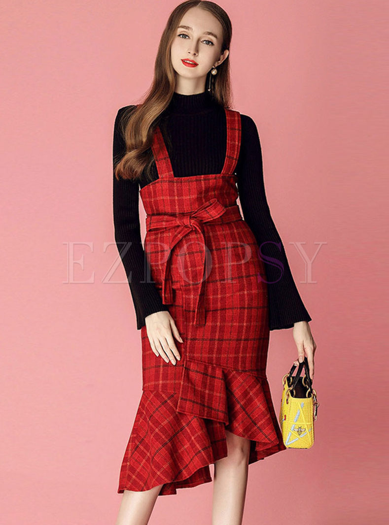 Black Flare Sleeve Sweater & Plaid Mermaid Skirt