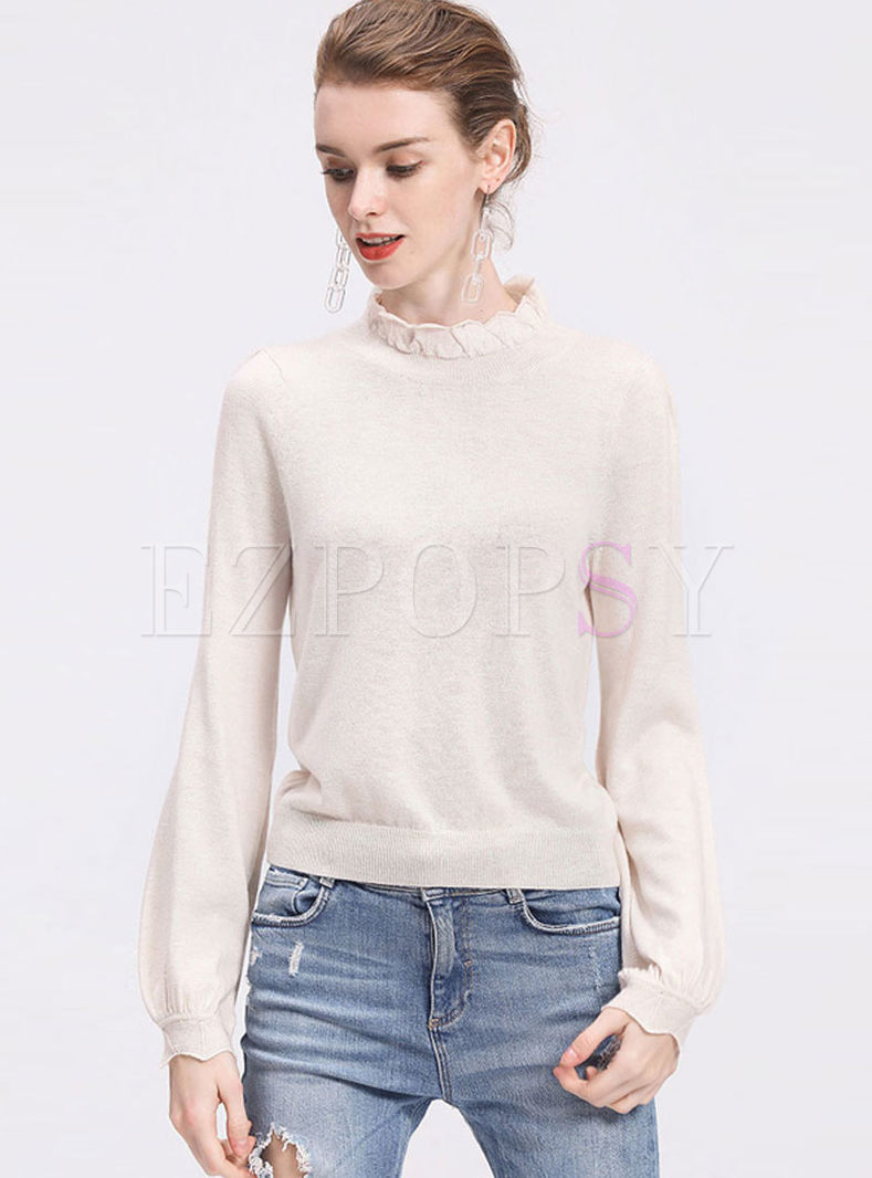 Standing Collar Lantern Sleeve Pullover Sweater
