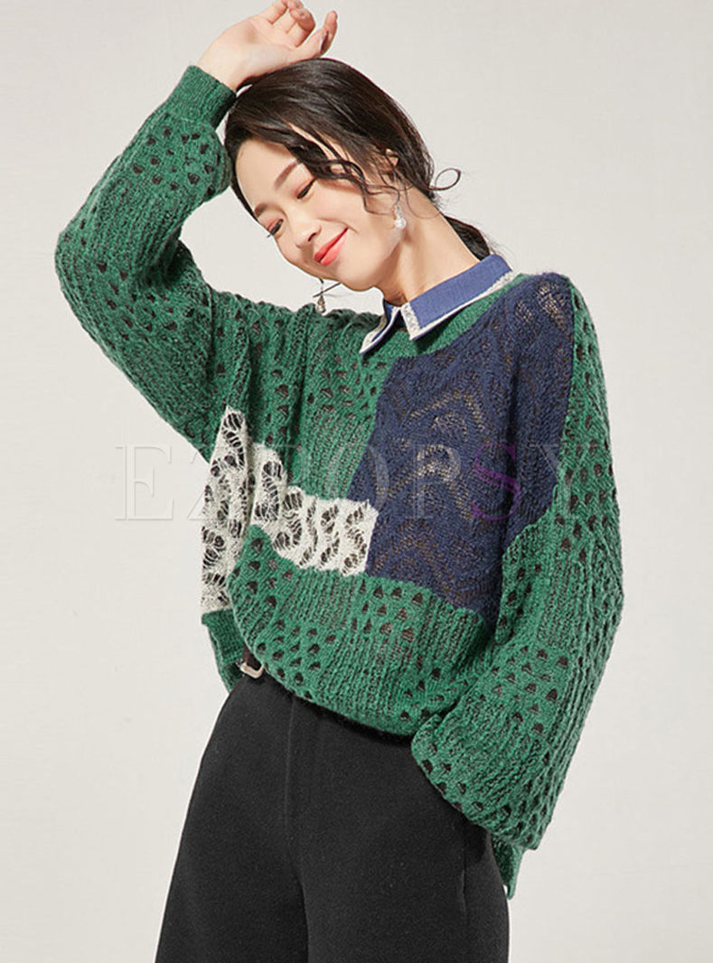 O-neck Openwork Loose Pullover Sweater