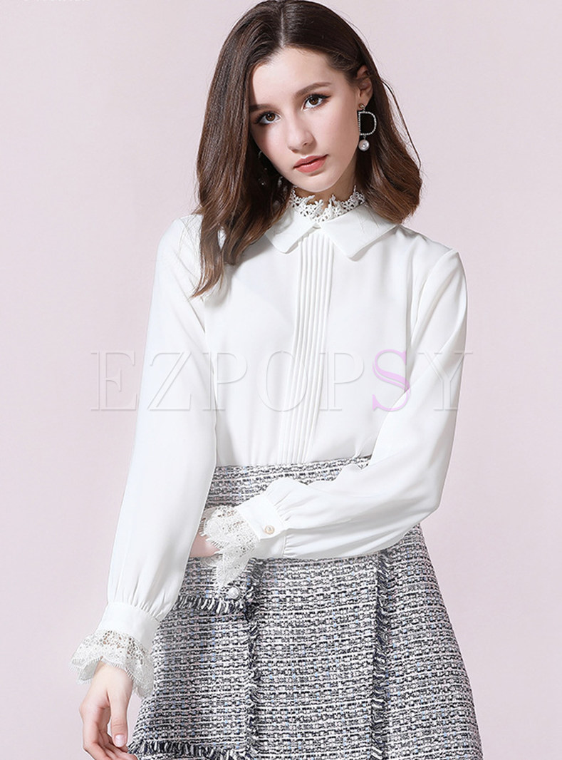 Brief Stand Collar Lacework Blouse