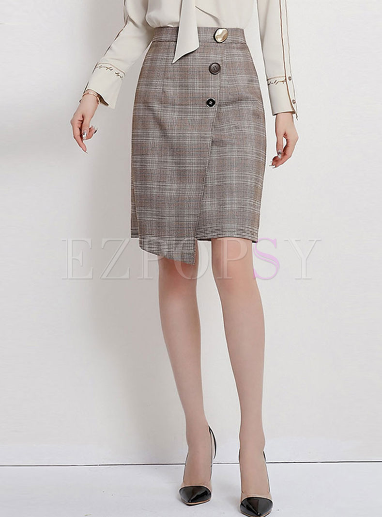 High Waisted Plaid Irregular Skirt