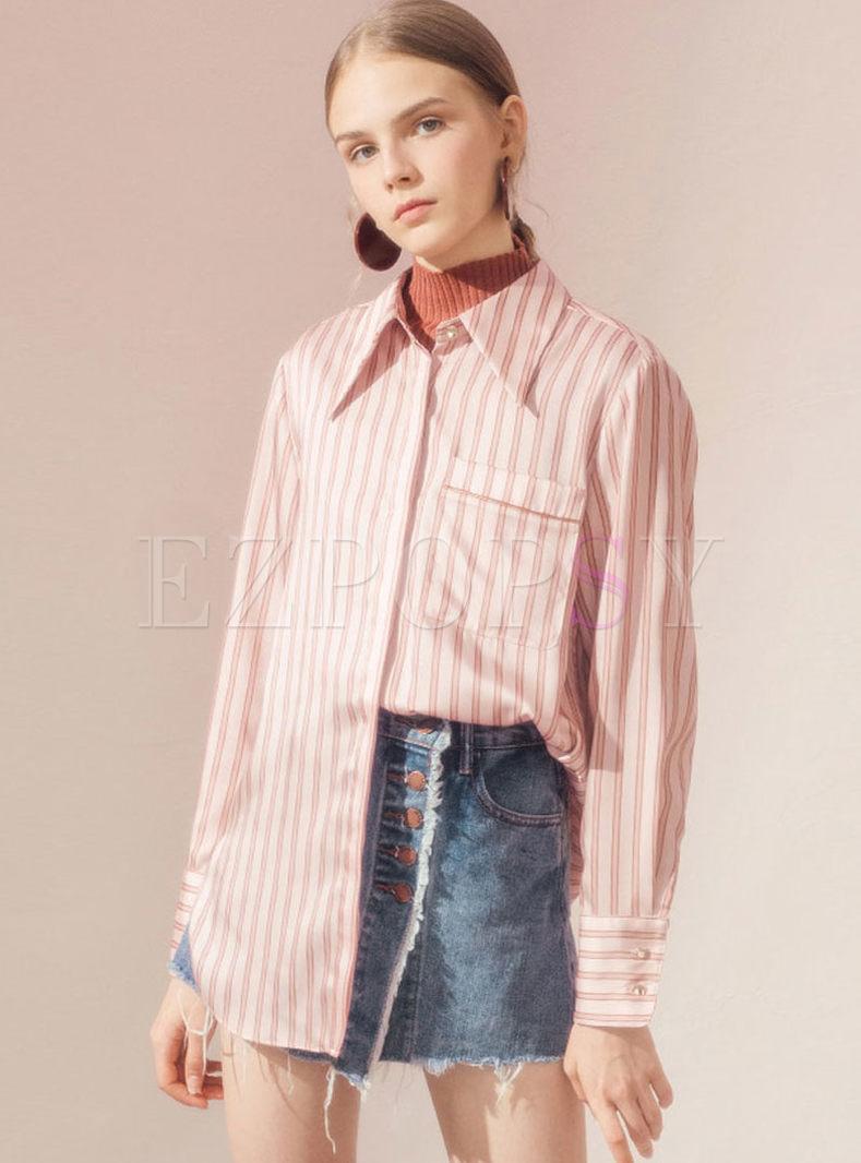 Turn Down Collar Striped Loose Shirt