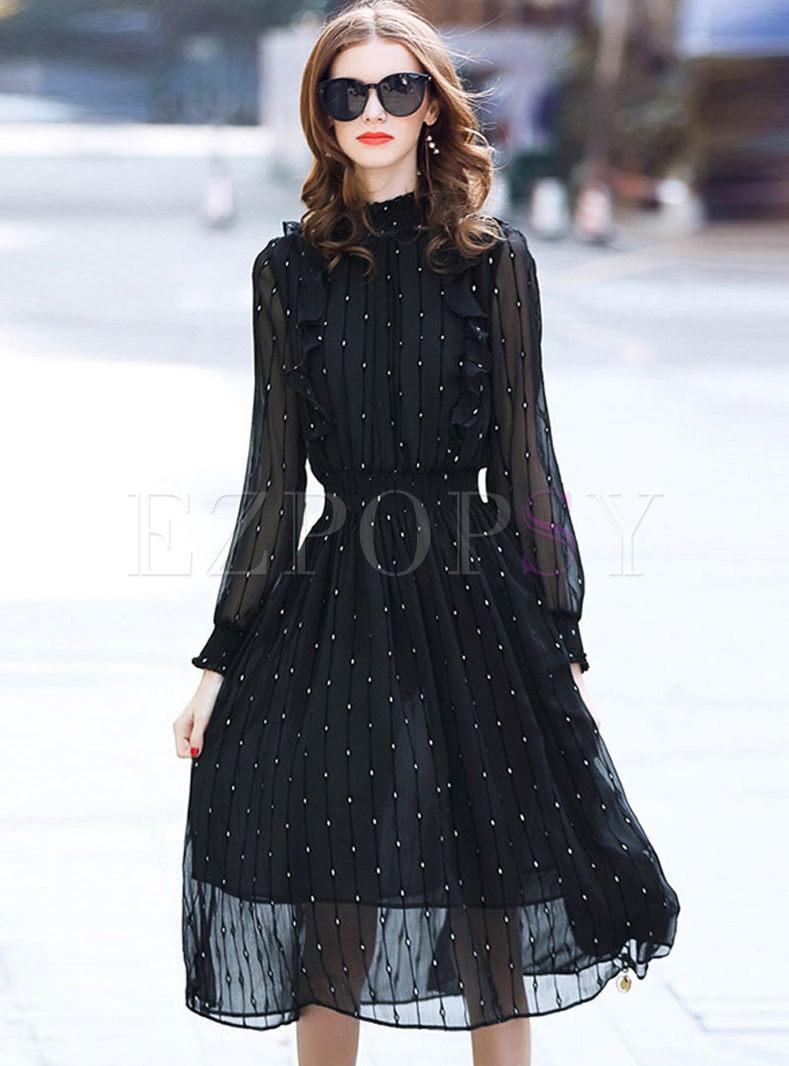 Standing Collar Dot Waist Skater Dress