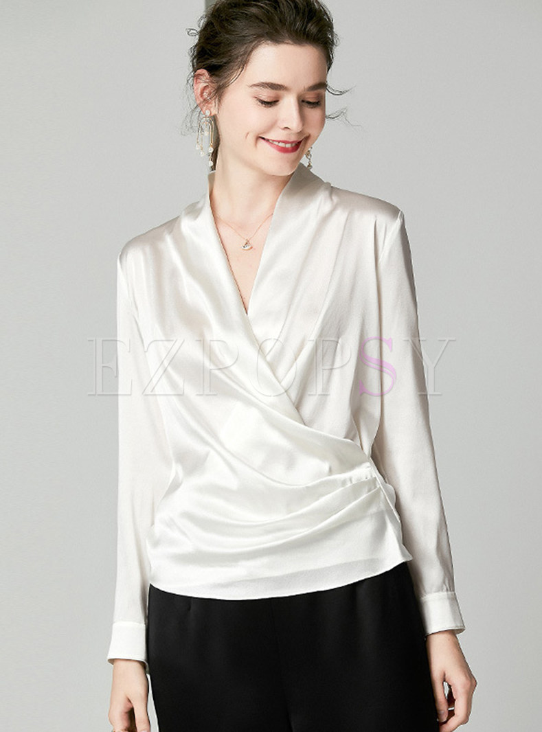V-neck Long Sleeve Pleated Slim Silk Blouse